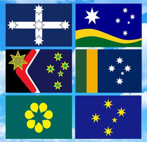 From left to right, top to bottom: the Eureka, Southern Horizon, Reconciliation, Sporting, Golden Wattle and Southern Cross flags.